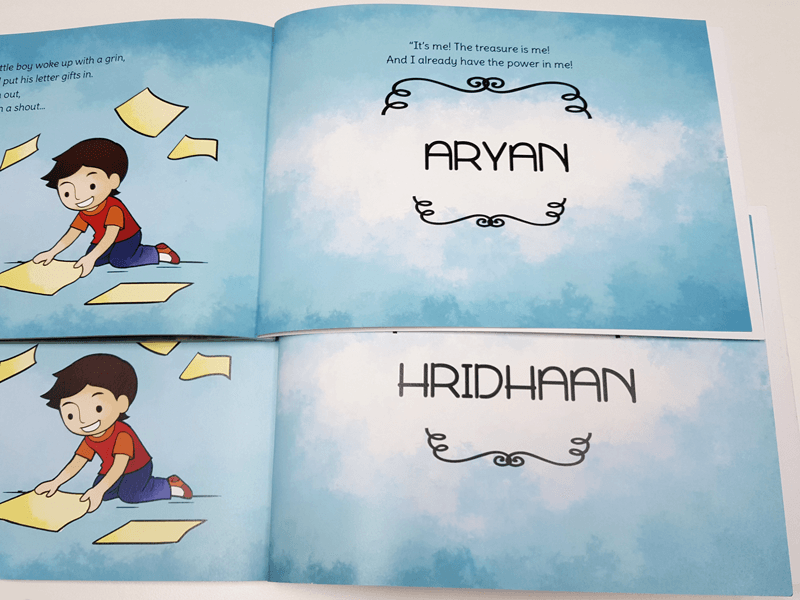 unique personalised book around letters of a childs name